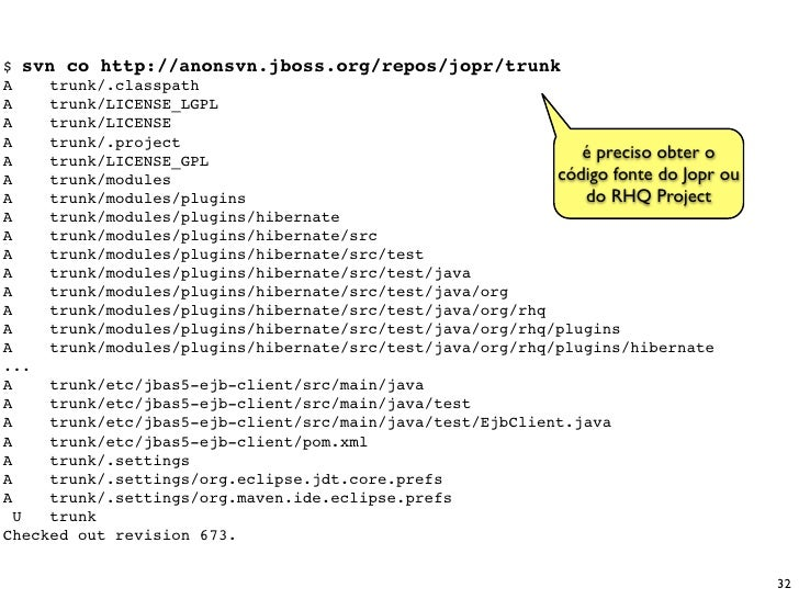 $ svn co http://anonsvn.jboss.org/repos/jopr/trunk A    trunk/.classpath A    trunk/LICENSE_LGPL A    trunk/LICENSE A    t...