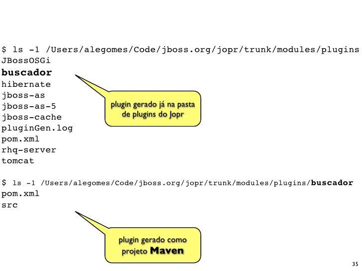 $ ls -1 /Users/alegomes/Code/jboss.org/jopr/trunk/modules/plugins JBossOSGi buscador hibernate jboss-as jboss-as-5        ...