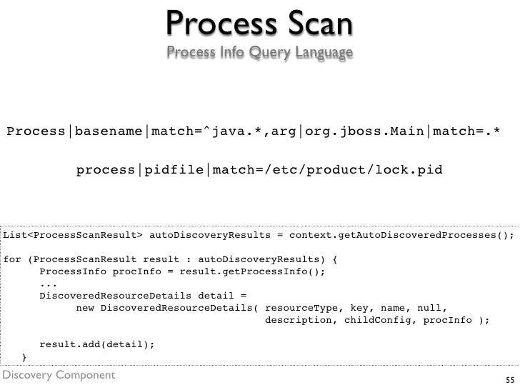 Process Scan                              Process Info Query Language    Process basename match=^java.*,arg org.jboss.Main...