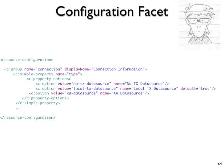 """Configuration Facet   <resource-configuration>    <c:group name=""""connection"""" displayName=""""Connection Information"""">       <c..."""