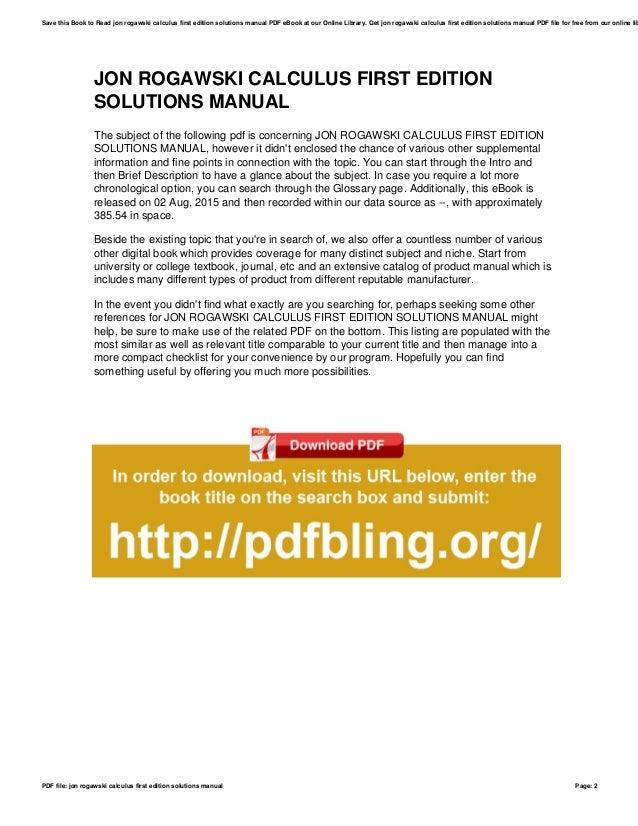 Rogawski calculus solutions manual 2nd array jon rogawski calculus first edition solutions manual rh slideshare net fandeluxe Gallery