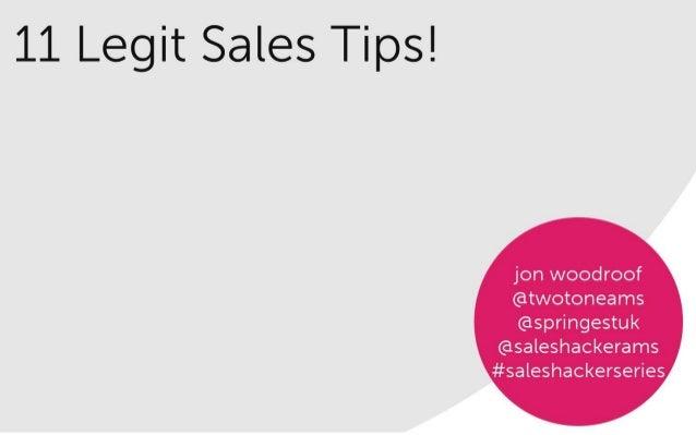 Sales Hacker Series Amsterdam - Jon Woodroof - 11 Legit Sales Tips