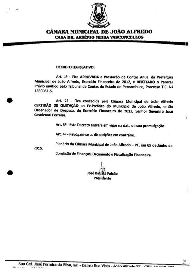 Documento da Çâmara Municipal de João Alfredo