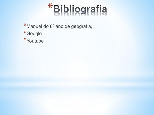 * *Manual do 8º ano de geografia, *Google *Youtube