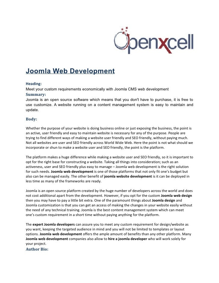 Joomla Web DevelopmentHeading:Meet your custom requirements economically with Joomla CMS web developmentSummary:Joomla is ...