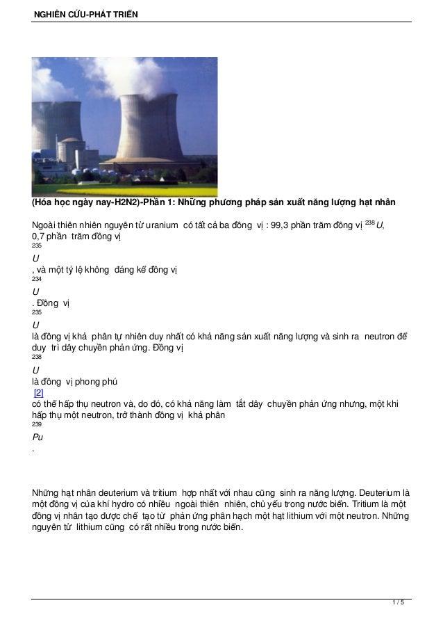 NGHIÊN CỨU-PHÁT TRIỂN  (Hóa học ngày nay-H2N2)-Phần 1: Những phương pháp sản xuất năng lượng hạt nhân Ngoài thiên nhiên ng...