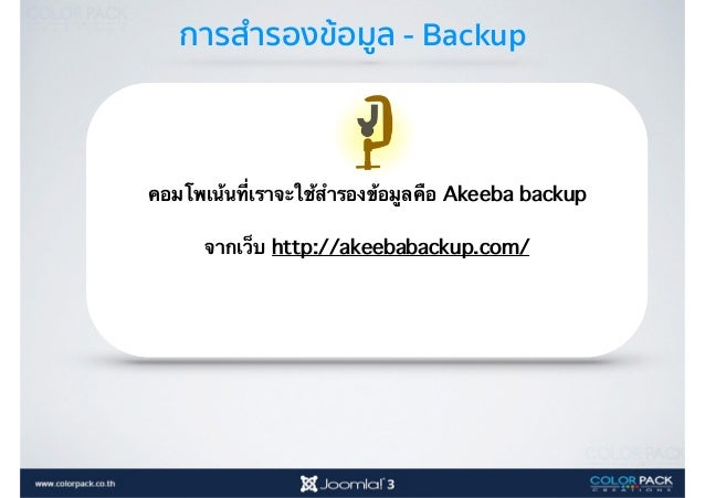 การสำรองข้อมูล - Backup Completed หากอยู่หน้าแรกของ akeeba เข้ามาจาก iconนี้