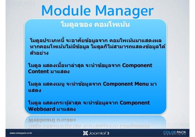 Module Position คือ ตําแหน่งต่างๆบนแทมเพลต โดย ชื<อของตําแหน่งจะแตกต่างกันไป แล้ว แต่คนทําแทมเพลต 1 ตําแหน่ง สามารถวางได้...