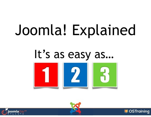 Joomla! Explained It's as easy as… 1 2 3