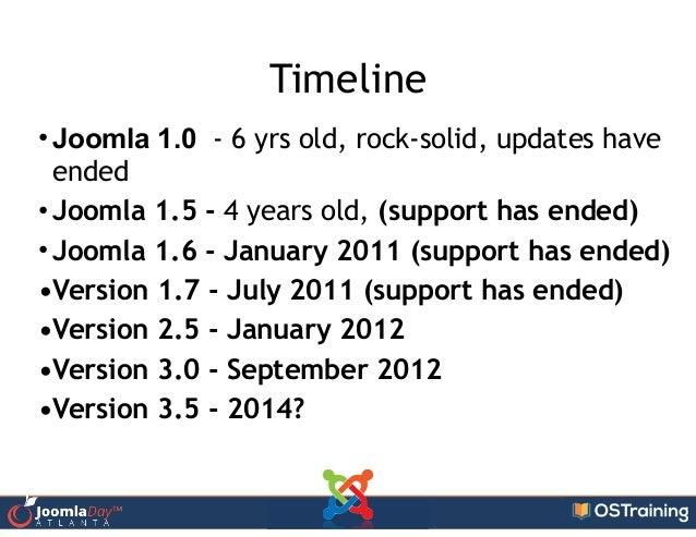 Timeline • Joomla 1.0 - 6 yrs old, rock-solid, updates have ended • Joomla 1.5 - 4 years old, (support has ended) • Joomla...