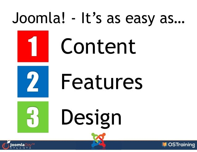 Joomla! - It's as easy as… 1 2 3 Content Features Design