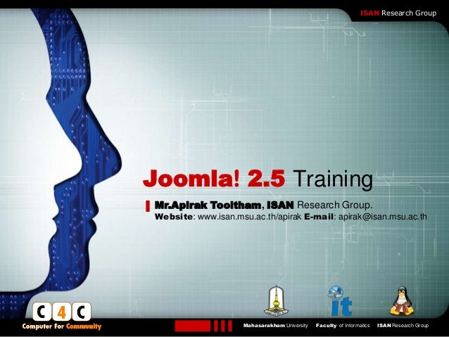 LOGO                                                                 ISAN Research GroupJoomla! 2.5 Training Mr.Apirak Too...