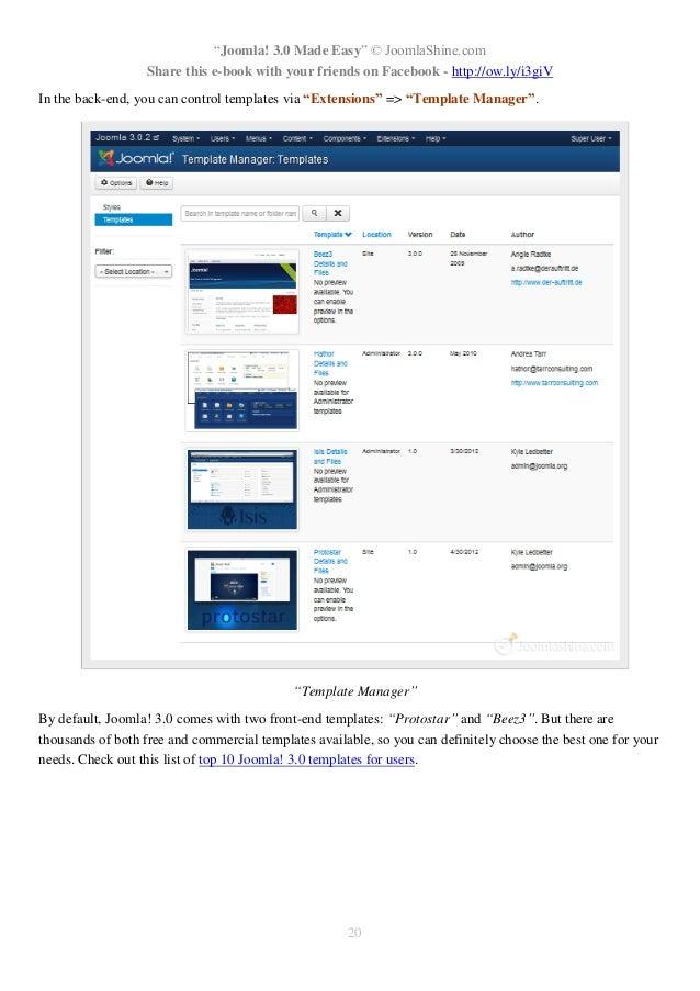 protostar joomla template download - joomla 3 0 made easy english