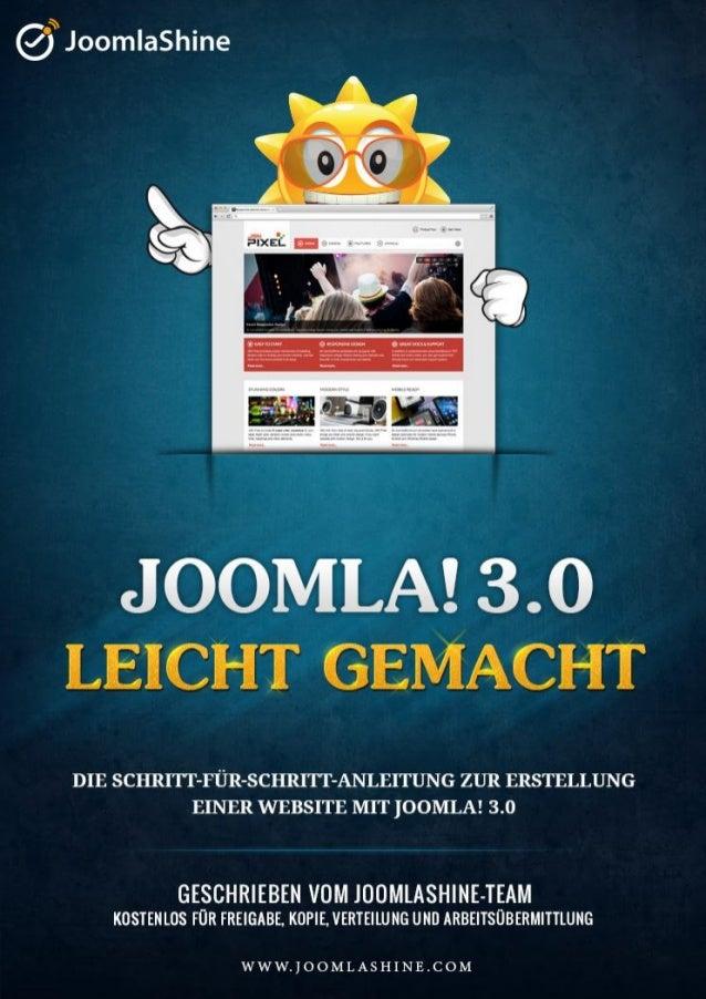 """""""Joomla 3.0 leicht gemacht"""" © JoomlaShine.comTeilen Sie mit Ihren Freunden dieses eBook auf Facebook – http://ow.ly/imVXrA..."""