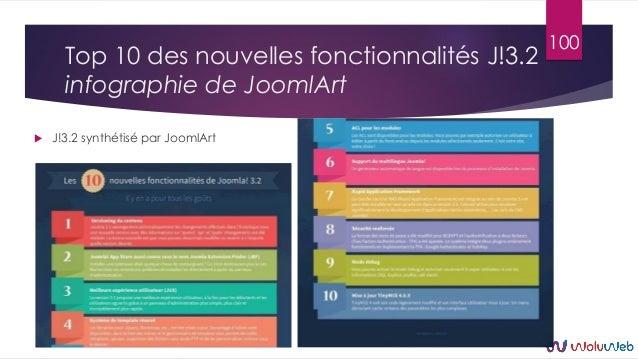 Top 10 des nouvelles fonctionnalités J!3.2 infographie de JoomlArt  J!3.2 synthétisé par JoomlArt 100