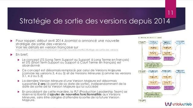 Stratégie de sortie des versions depuis 2014  Pour rappel, début avril 2014 Joomla! a annoncé une nouvelle stratégie de s...