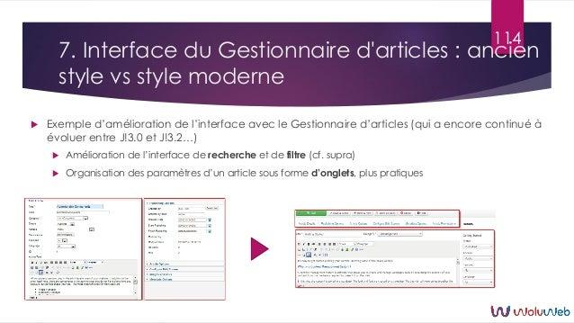7. Interface du Gestionnaire d'articles : ancien style vs style moderne  Exemple d'amélioration de l'interface avec le Ge...
