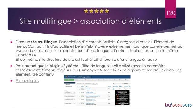 Site multilingue > association d'éléments  Dans un site multilingue, l'association d'éléments (Article, Catégorie d'artic...
