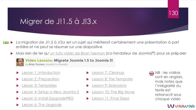 Migrer de J!1.5 à J!3.x  La migration de J!1.5 à J!3.x est un sujet qui mériterait certainement une présentation à part e...