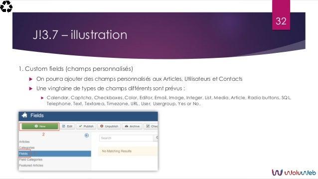 J!3.7 – illustration 1. Custom fields (champs personnalisés)  On pourra ajouter des champs personnalisés aux Articles, Ut...