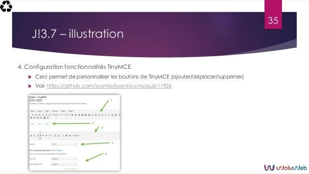 J!3.7 – illustration 4. Configuration fonctionnalités TinyMCE  Ceci permet de personnaliser les boutons de TinyMCE (ajout...