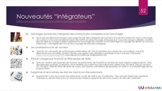 """Nouveautés """"intégrateurs"""" https://www.joomla.org/3/component/tags/tag/4-integrator  Des pages de liste des catégories des..."""