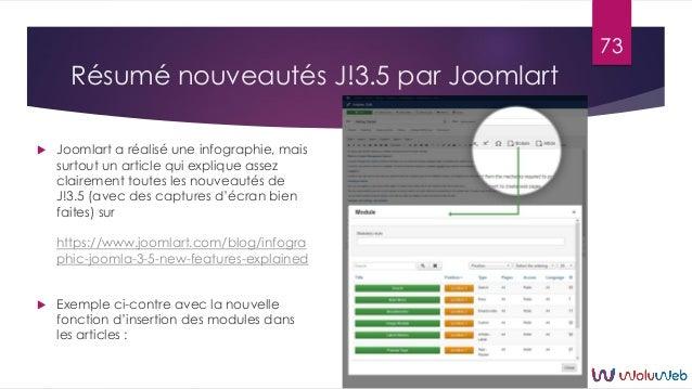 Résumé nouveautés J!3.5 par Joomlart  Joomlart a réalisé une infographie, mais surtout un article qui explique assez clai...