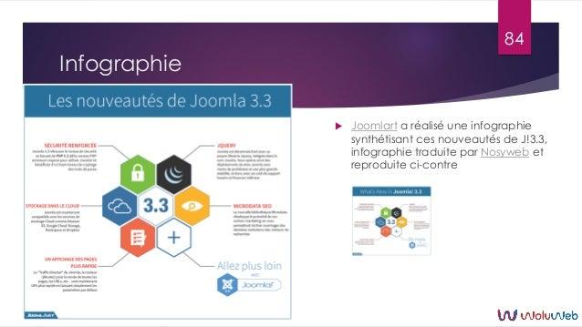 Infographie  Joomlart a réalisé une infographie synthétisant ces nouveautés de J!3.3, infographie traduite par Nosyweb et...