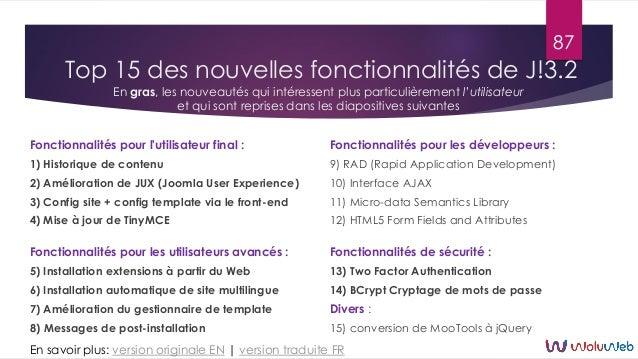Top 15 des nouvelles fonctionnalités de J!3.2 Fonctionnalités pour l'utilisateur final : 1) Historique de contenu 2) Améli...