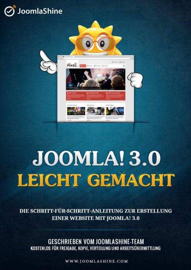 """""""Joomla 3.0 leicht gemacht"""" © JoomlaShine.com               Teilen Sie Ihren Freunden dieses E-Buch auf Facebook - http://..."""