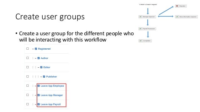 Create user groups • Create a user group for the different people who will be interacting with this workflow Create a leav...