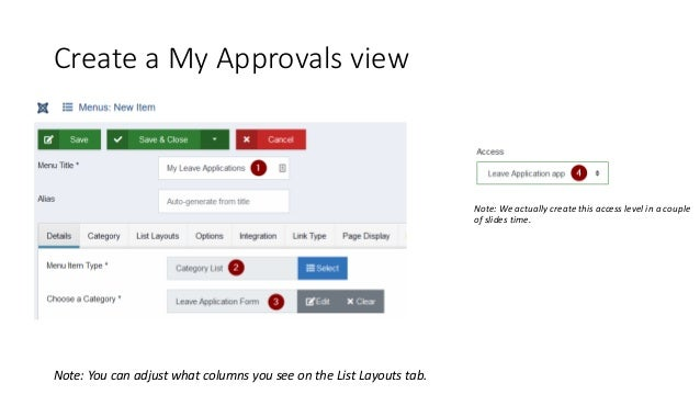 Create a My Approvals view Note: You can adjust what columns you see on the List Layouts tab. Note: We actually create thi...