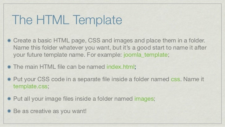 Turning A Static Html Page Into A Joomla Template