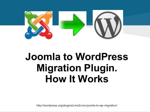 Joomla to WordPress Migration Plugin. How It Works http://wordpress.org/plugins/cms2cms-joomla-to-wp-migration/