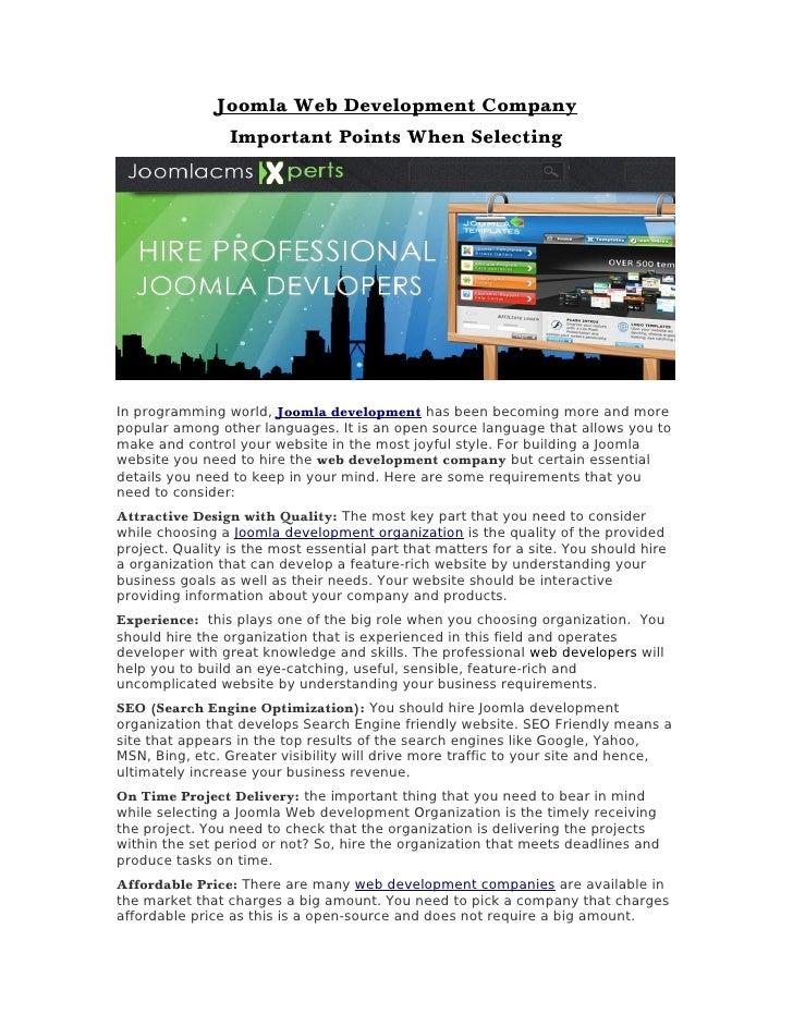 Joomla Web Development Company                 Important Points When SelectingIn programming world, Joomla development has...