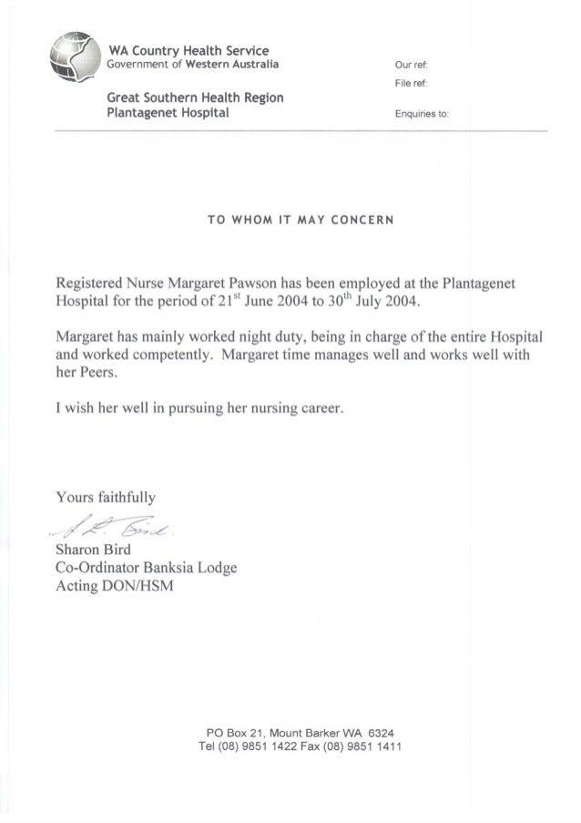 Nurse Reference Letter