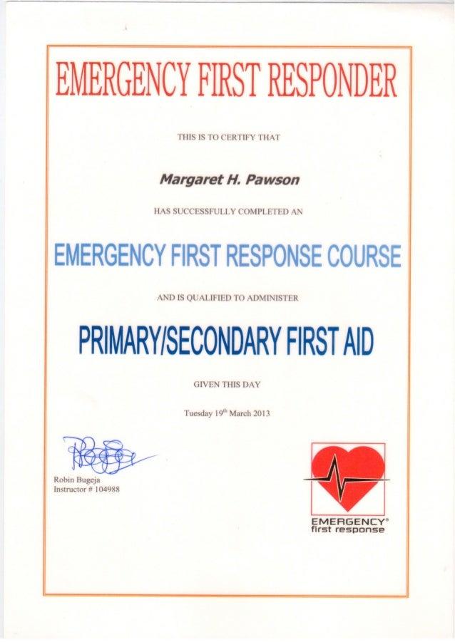 responder certificate emergency certification aid