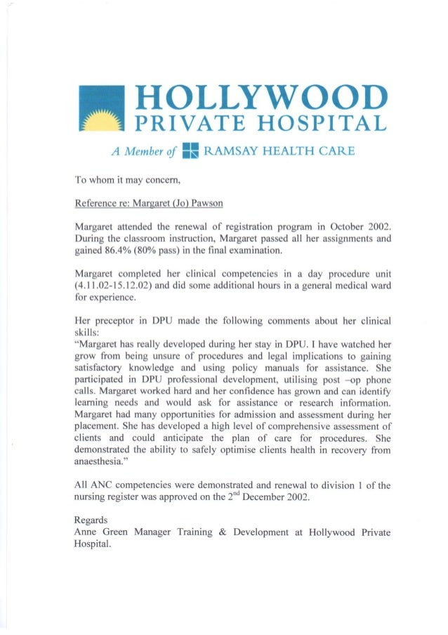 Reference Letter  Hollywood Private Hospital
