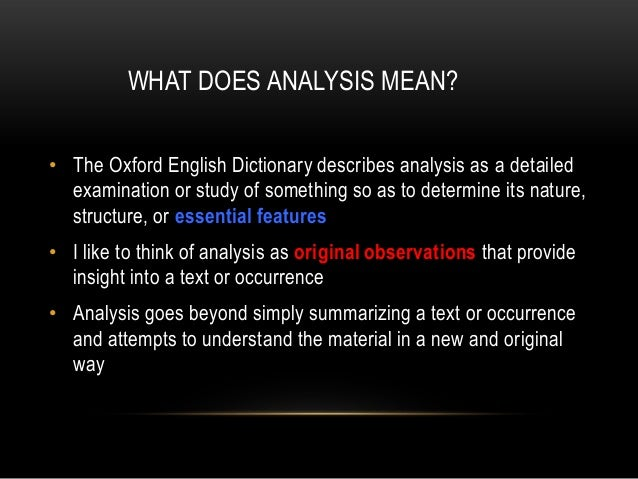 what does analysis mean in english
