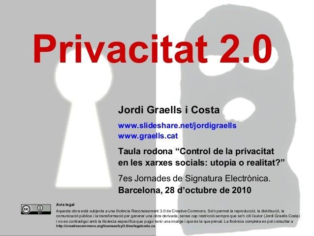 1 Avís legal Aquesta obra està subjecta a una llicència Reconeixement 3.0 de Creative Commons. Se'n permet la reproducció,...