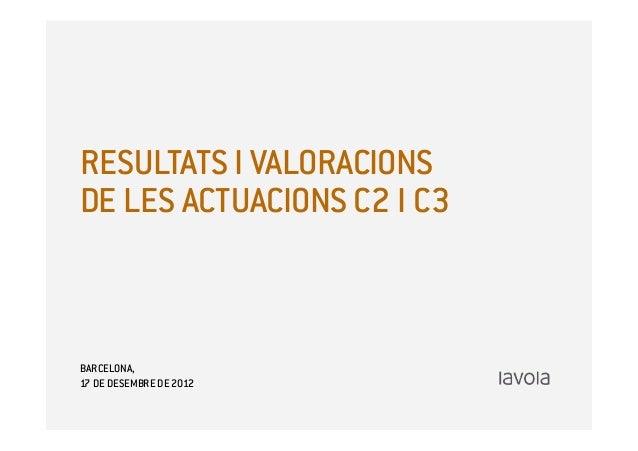 RESULTATS I VALORACIONSDE LES ACTUACIONS C2 I C3BARCELONA,17 DE DESEMBRE DE 2012