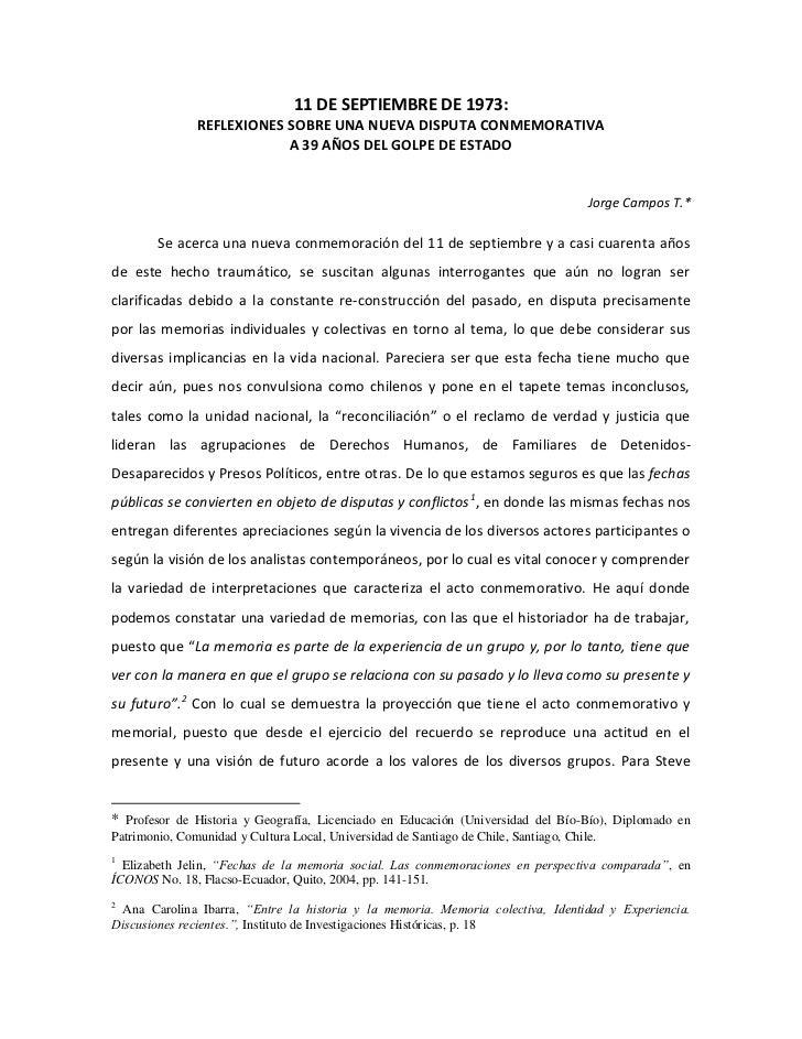 11 DE SEPTIEMBRE DE 1973:               REFLEXIONES SOBRE UNA NUEVA DISPUTA CONMEMORATIVA                           A 39 A...