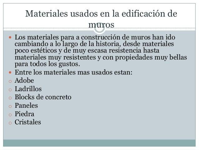 Procesos de construcci n muros - Tipos de materiales de construccion ...