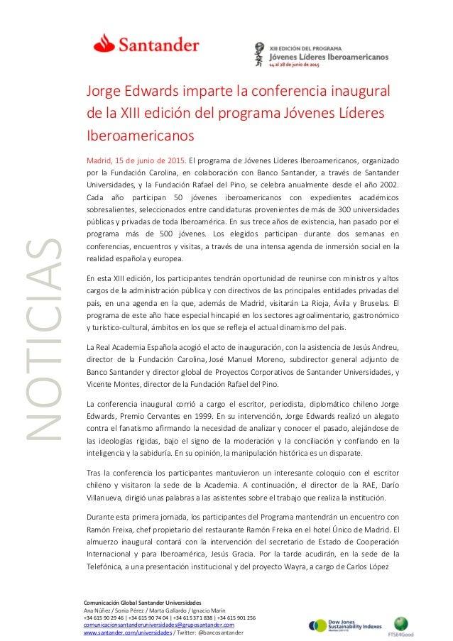 NOTICIAS Jorge Edwards imparte la conferencia inaugural de la XIII edición del programa Jóvenes Líderes Iberoamericanos Ma...