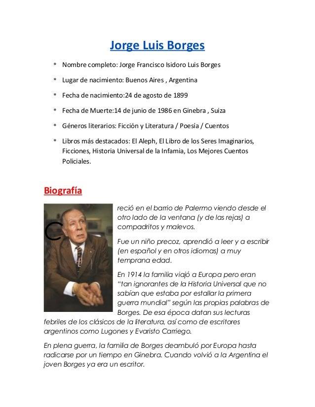 Jorge Luis Borges * Nombre completo: Jorge Francisco Isidoro Luis Borges * Lugar de nacimiento: Buenos Aires , Argentina *...