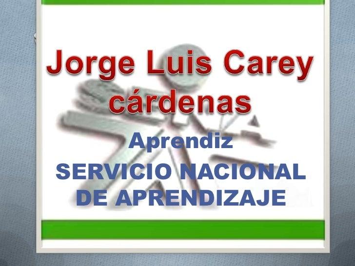 Jorge Luis Carey cárdenas<br />Aprendiz<br />SERVICIO NACIONAL DE APRENDIZAJE <br />