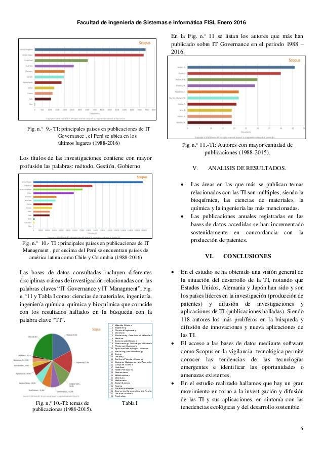 Facultad de Ingeniería de Sistemas e Informática FISI, Enero 2016 5 Fig. n.° 9.- TI: principales países en publicaciones d...