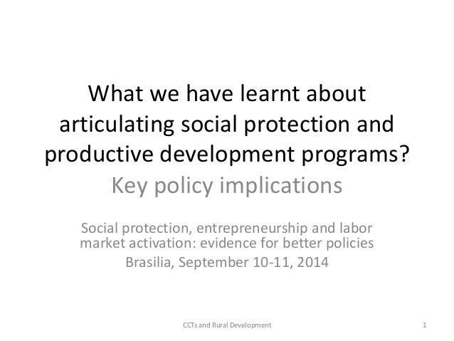What we have learnt about  articulating social protection and  productive development programs?  Key policy implications  ...