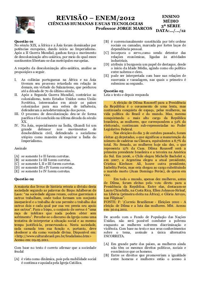 ENSINO                              REVISÃO – ENEM/2012                  MÉDIO                        CIÊNCIAS HUMANAS E S...