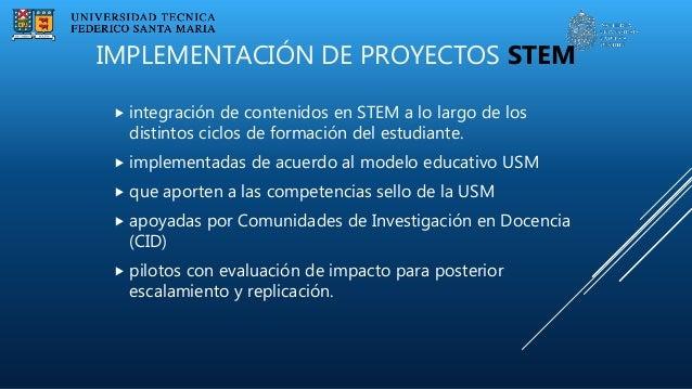 IMPLEMENTACIÓN DE PROYECTOS STEM  integración de contenidos en STEM a lo largo de los distintos ciclos de formación del e...
